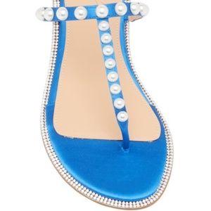 BADGLEY MISCHKA Jeweled Blue Satin Sandal